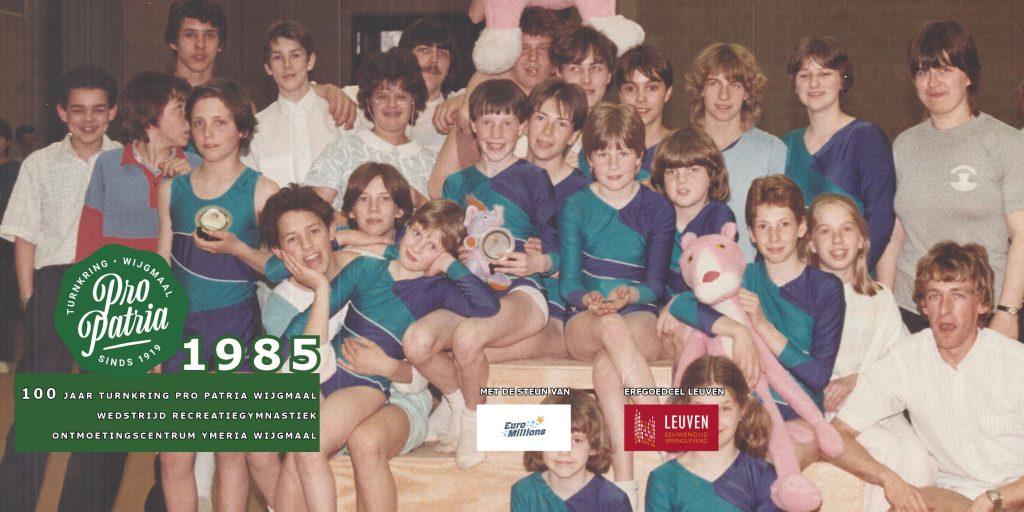 PPW 100 - groepsfoto 1985 - wedstrijd Ontmoetingscentrum Ymeria Wijgmaal