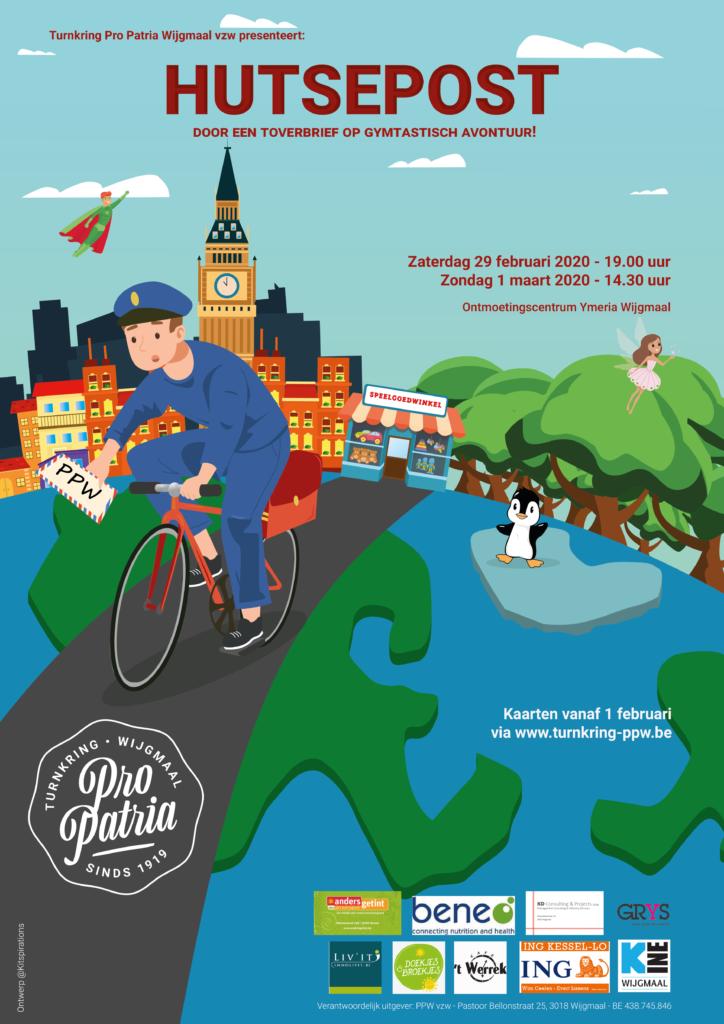 Affiche turnshow 2020 - HUTSEPOST, door een toverbrief op gymtastisch avontuur!